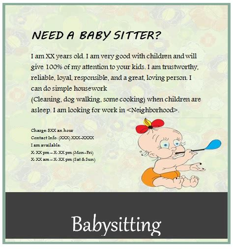 babysitting template free babysitting flyers unique ideas beautiful templates
