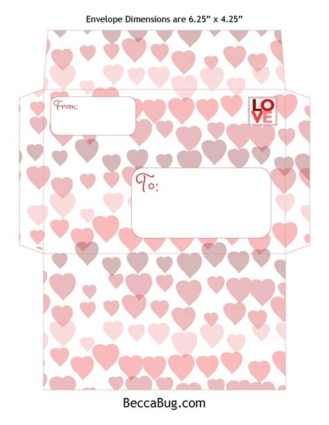 Printable Valentine Envelope Template | valentine envelopes beccabug blog