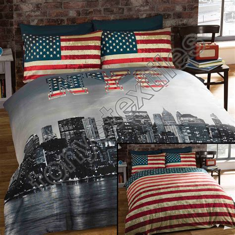 Nyc Set new york city skyline american flag usa reversible quilt duvet cover bedding set ebay
