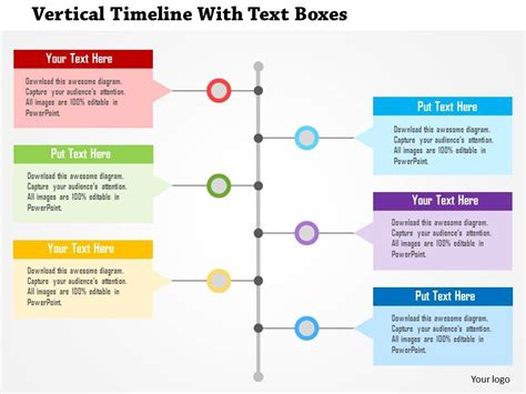 Vertical Timeline With Text Boxes Flat Powerpoint Design Vertical Timeline Template