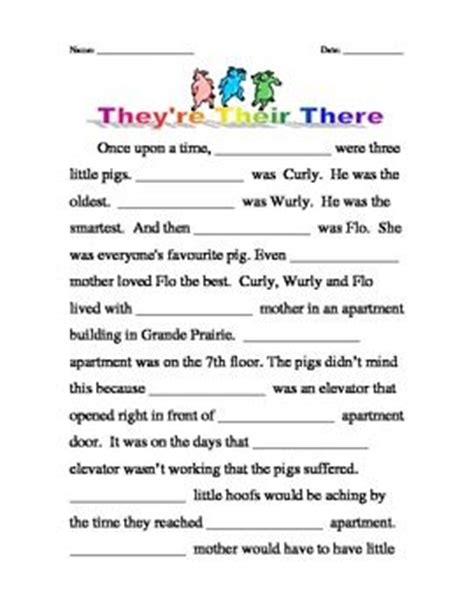 There Their And They Re Worksheets by Homophones Their There They Re Pigs Three