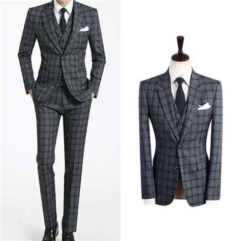 Set Check Blazer Vest Check s wedding suit uk 2bt italian grey checked plaid sale