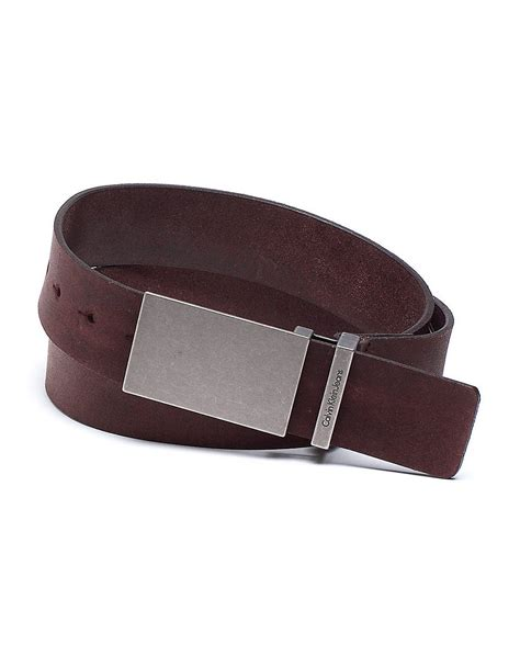 calvin klein leather flat plaque buckle belt in brown for lyst