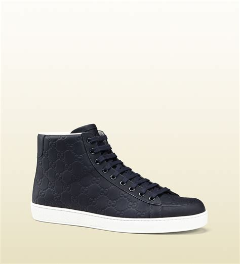 Sneaker High gucci rubberized leather high top sneaker in blue for lyst