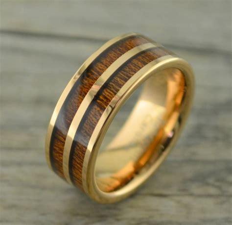 tungsten rose gold ring  double row  koa wood inlay