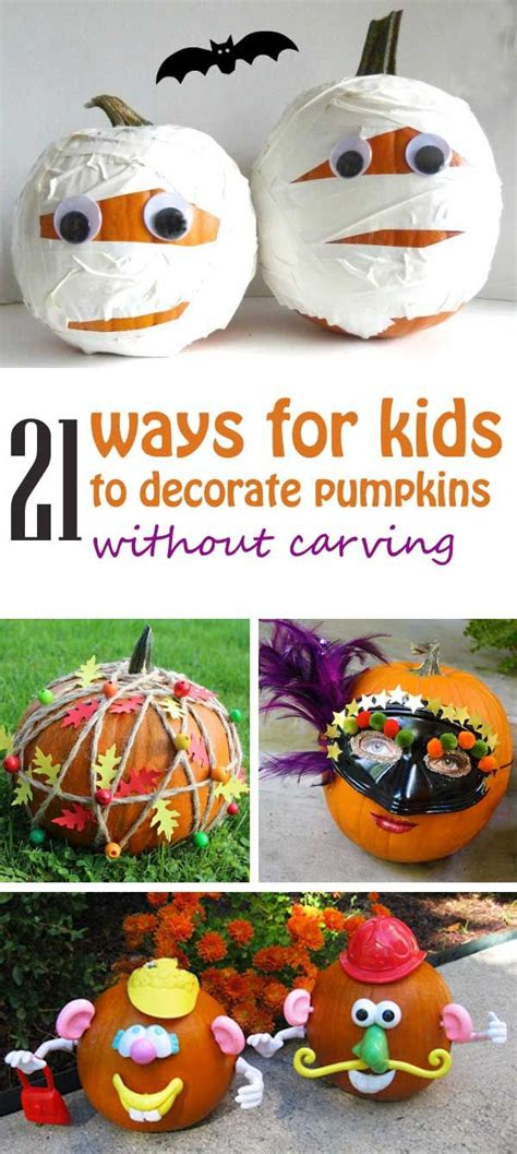 21 ways for to decorate pumpkins without carving use