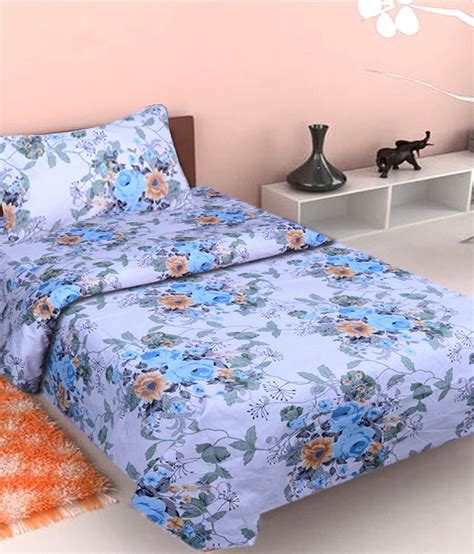 buy bed sheets homezaara blue cotton single bed sheet buy homezaara