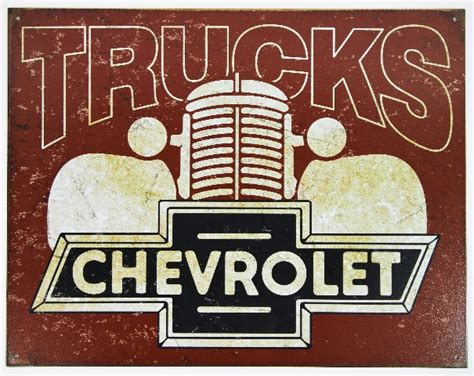 chevy trucks chevrolet tin metal sign silverado