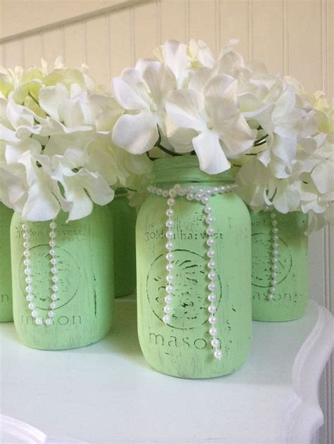 Painted Mason Jar Wedding Centerpieces