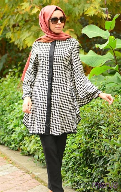 Tunik Arabik Blouse Tunik tesett 252 r tunik all day 10136 05 siyah beyaz hijabs