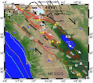 southern california fault lines map southern california fault kinematics