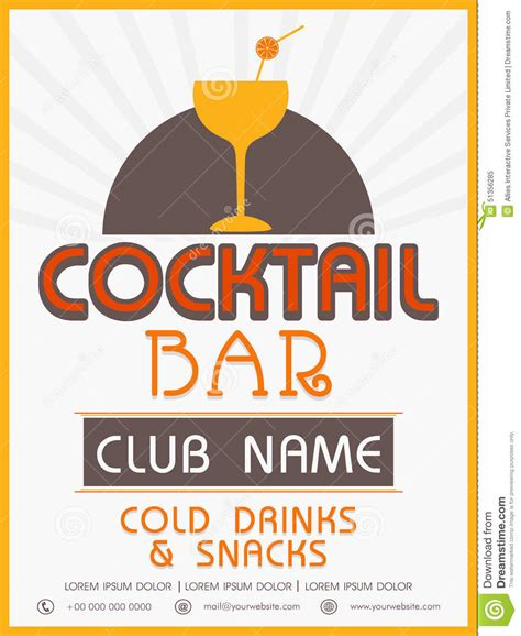 menu card template or flyer design for cocktail stock