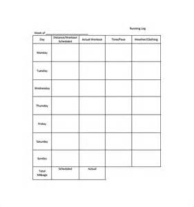 Running Record Template by Sle Running Log Template 9 Free Documents In Pdf