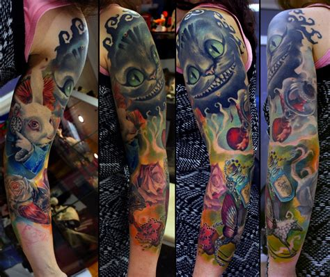 alice in wonderland sleeve tattoo in sleeve in progress by grimmy3d
