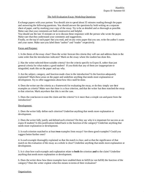 How To Write A Evaluation Essay by 9 Evaluation Essay Exles Free Pdf Format