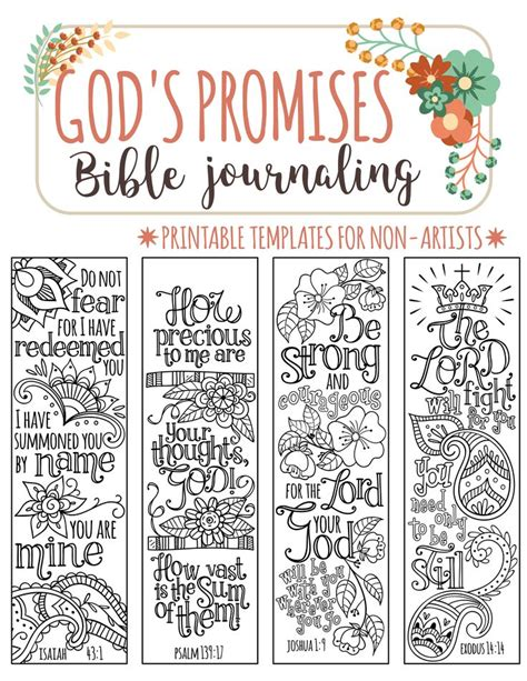 God S Promises Bible Journaling Printable Templates Illustrated Christian Faith Bookmarks Free Bible Journaling Templates