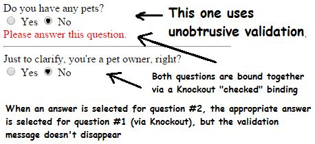 knockout validation pattern not working asp net mvc knockout radio button quot checked quot binding isn