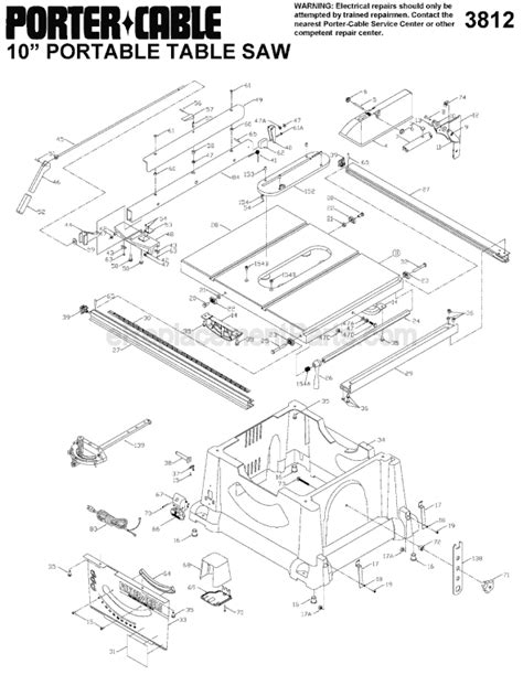 porter cable 3812 parts list and diagram type 2
