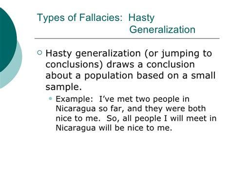 exle of hasty generalization common fallacies in advertising powerpoint