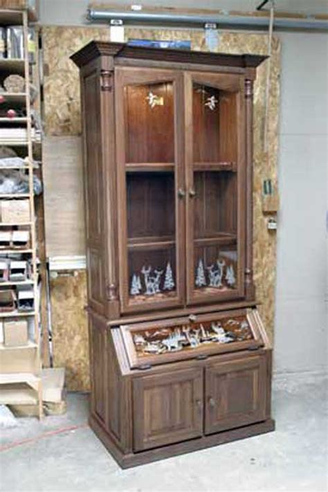 wood gun cabinet with etched glass amish made custom gun cabinets the wood loft amish