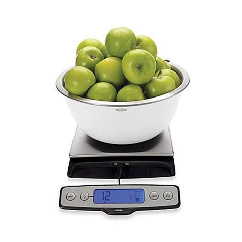 oxo 22 pound food scale with pull out display bed bath
