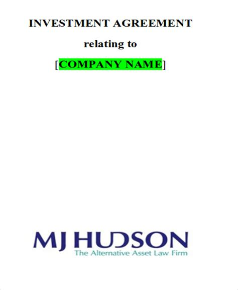company contract agreement 7 sle investment contract agreements sle templates