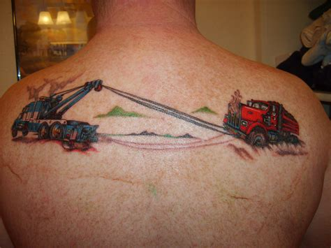 fire truck tattoos designs tow truck backpiece tow truck backpiece