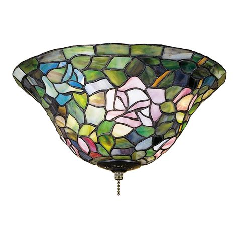 ceiling fan with stained glass light shop meyda tiffany 3 light rosebush ceiling fan light kit