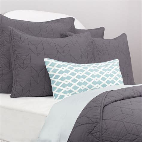 what is a sham for a bed charcoal cotton quilt and sham chevron charcoal crane