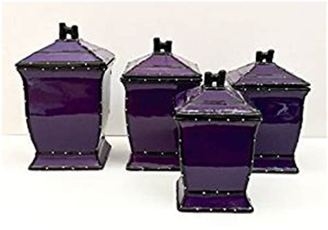 purple canister set kitchen amazon com tuscany purple ruffle hand painted ceramic 4