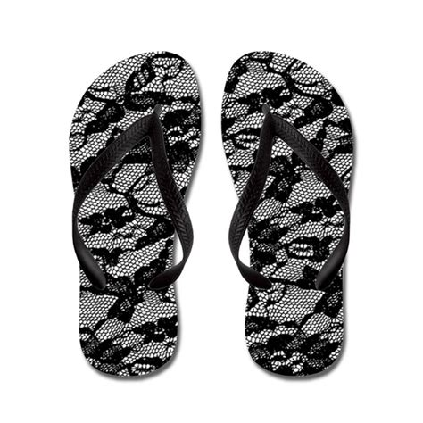 lace pattern color black lace pattern flip flops by artandornament