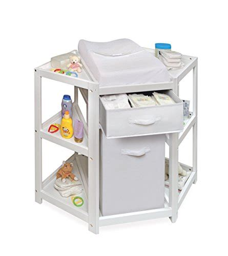 Badger Basket Diaper Corner Baby Changing Table With Corner Changing Table White