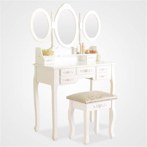 White Vanity Desk With Drawers White Dressing Table Vanity Makeup Desk With 7 Drawers 3 Mirrors And Stool
