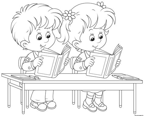 school kids reading books coloring pages printable