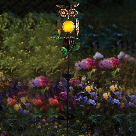 Owl Patio Lights Owl Solar Garden Stake Bed Bath Beyond