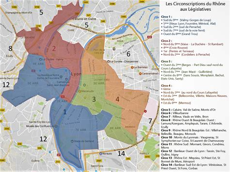 la carte des circonscriptions de lyon  du rhone pour les