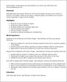Lighting Technician Cover Letter professional props and lighting technician templates to showcase your talent myperfectresume
