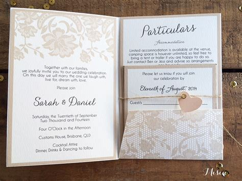lace wedding invitations with pockets lace pocket fold wedding invitations misiu papier