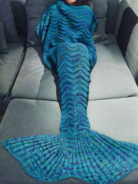 knitted mermaid comfortable multicolor knitted mermaid design blanket