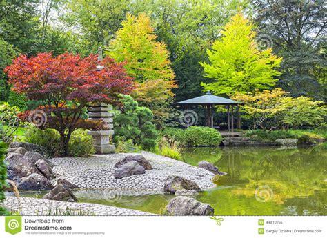dans le jardin de arbre rouge pr 232 s de l 233 tang vert dans le jardin japonais