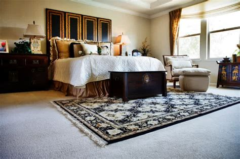 where to put rug in bedroom how to place rugs on carpet homes innovator