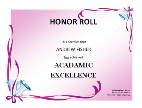 search results for honor roll certificate templates word