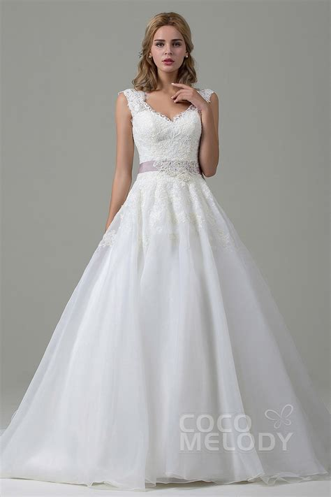 Organza A Line Dress cocomelody a line v neck lace organza court wedding