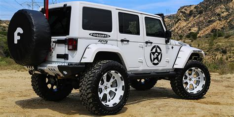 New White Jeep Wrangler White Jeep Wrangler With Forgiatos And 37 Inch Mud Tires