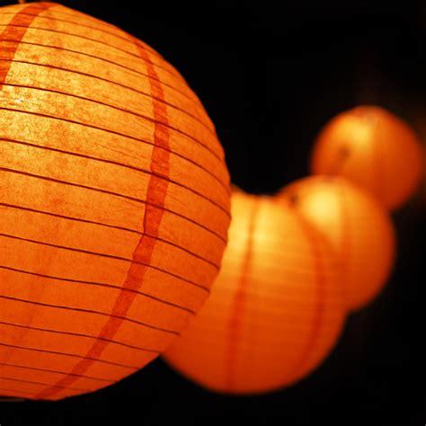 12 Quot Orange Paper Lantern String Light Set 10 Pack Combo Paper Lantern String Lights