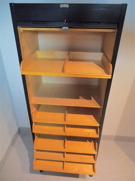 Tall Mid Century Swedish Roll Front File Cabinet For Sale