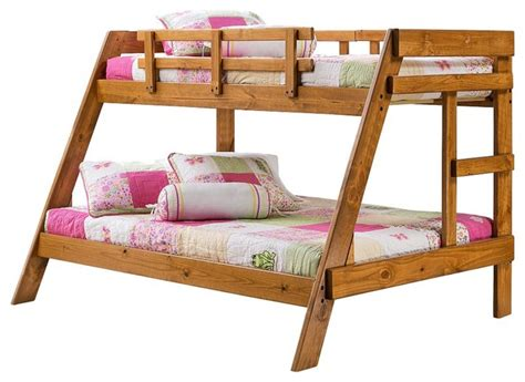bunk beds twin over full wood heartland twin over full wooden bunkbed traditional