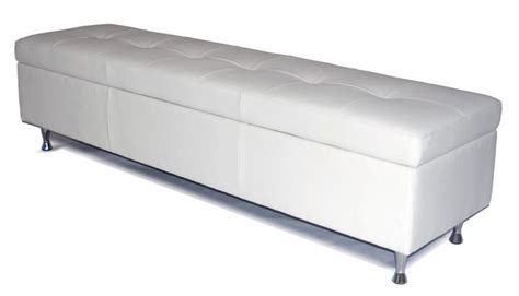 modern leather storage bench contemporary king size white genuine leather tufted