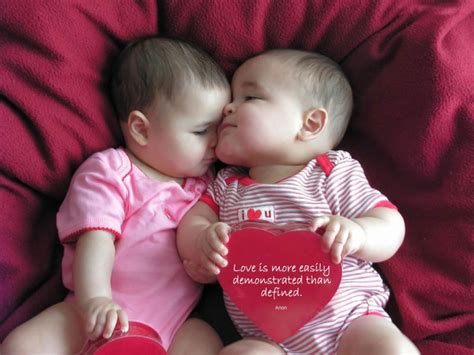 images of love baby life quotes cute love picture kissing twin baby