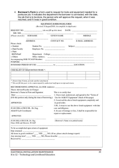 request letter for electrician k to 12 electrical learning module